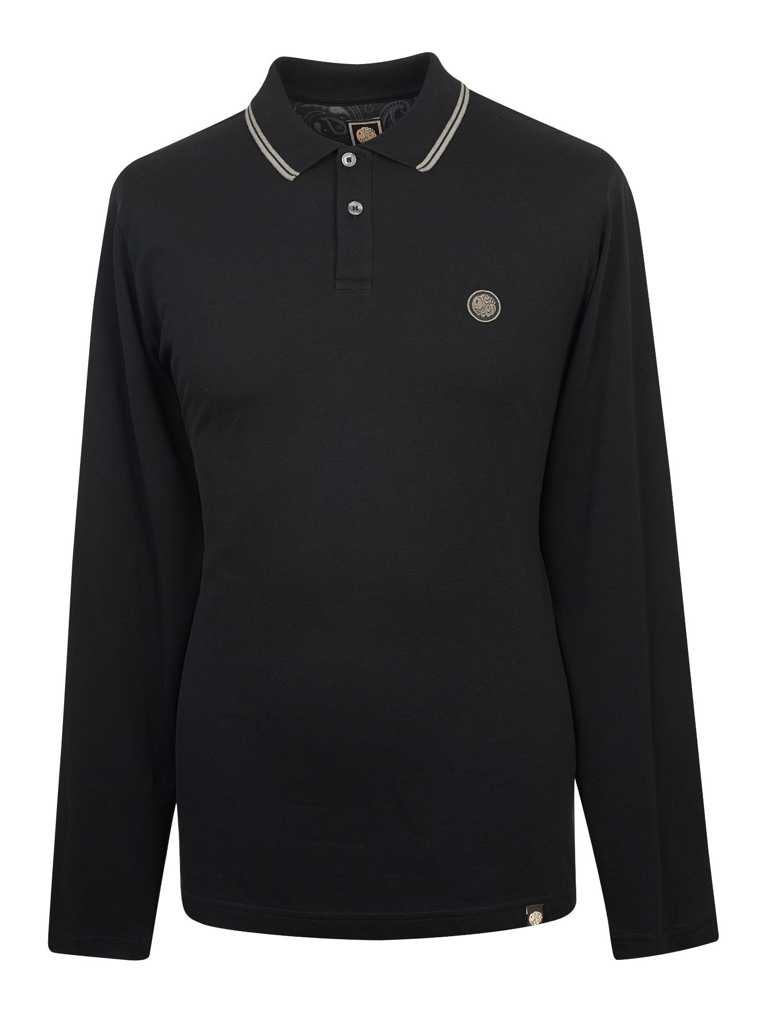 Men's Pretty Green Long Sleeve Tipped Pique Polo Shirt, Black