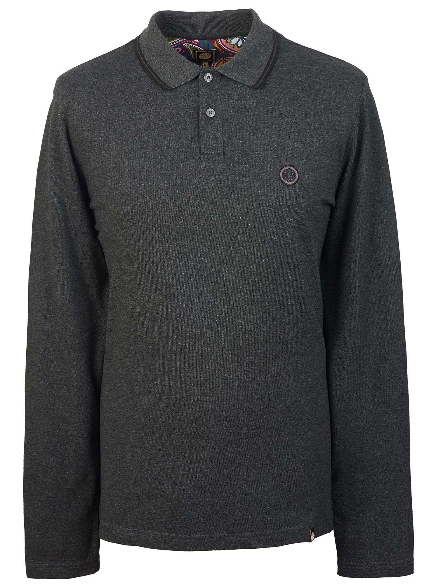 Men's Pretty Green Long Sleeve Tipped Pique Polo Shirt, Grey