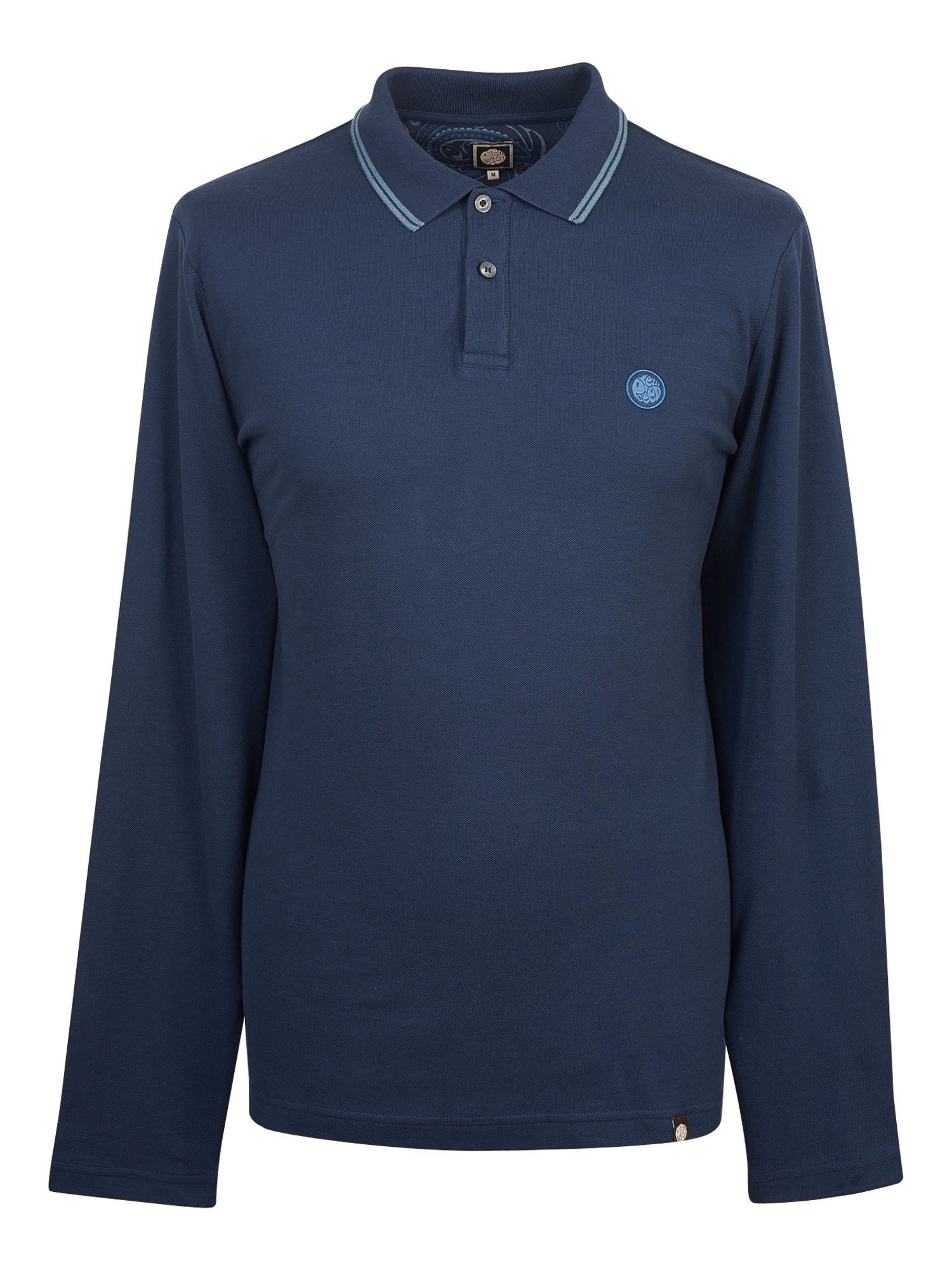 Men's Pretty Green Long Sleeve Tipped Pique Polo Shirt, Blue