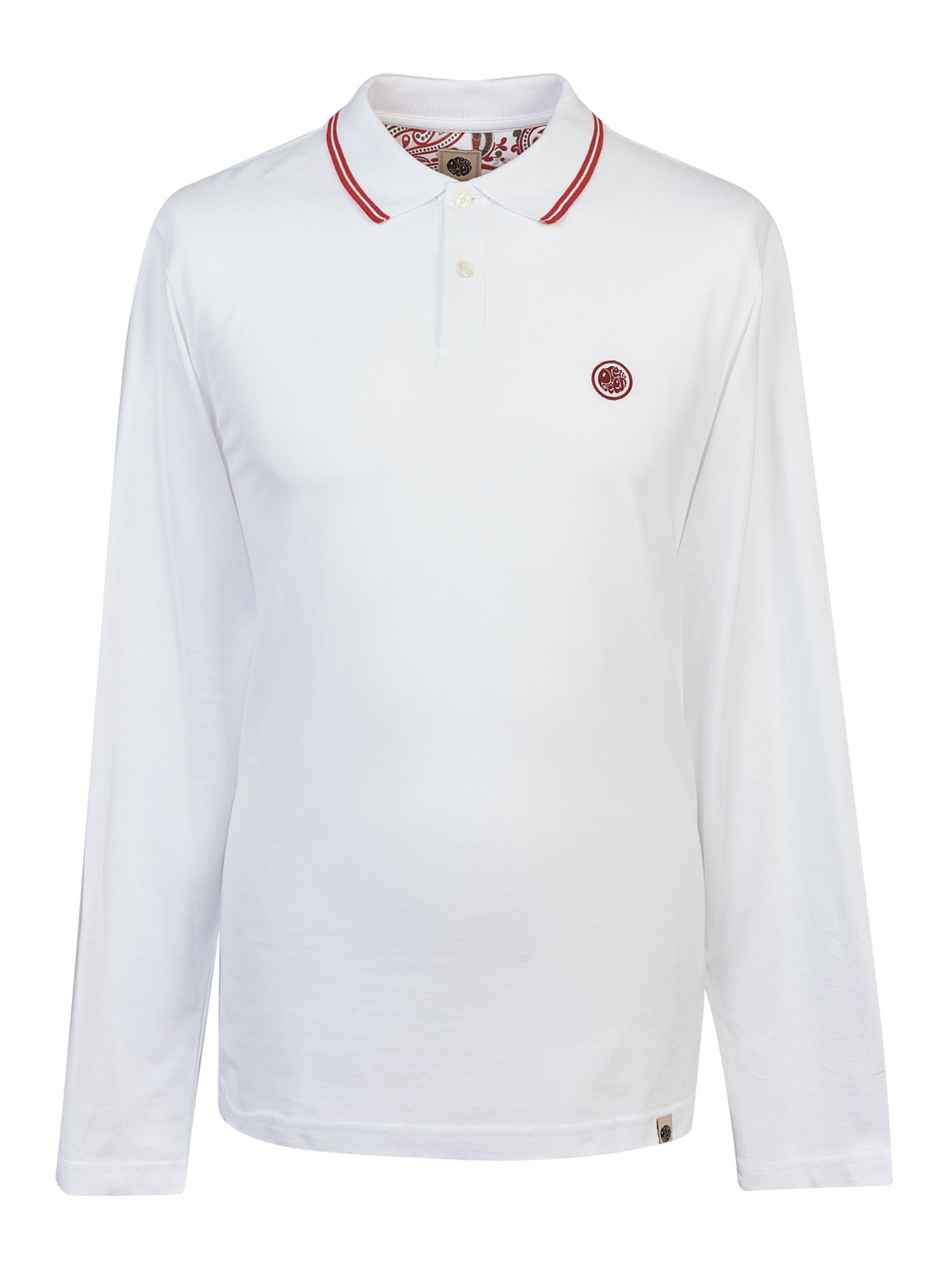 Men's Pretty Green Long Sleeve Tipped Pique Polo Shirt, White