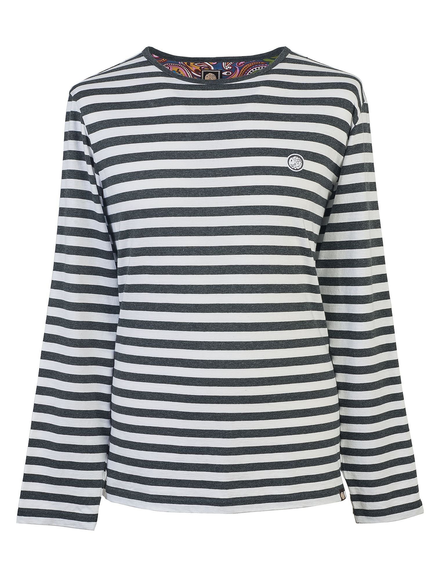 Men's Pretty Green Long Sleeve Striped T-Shirt, Grey