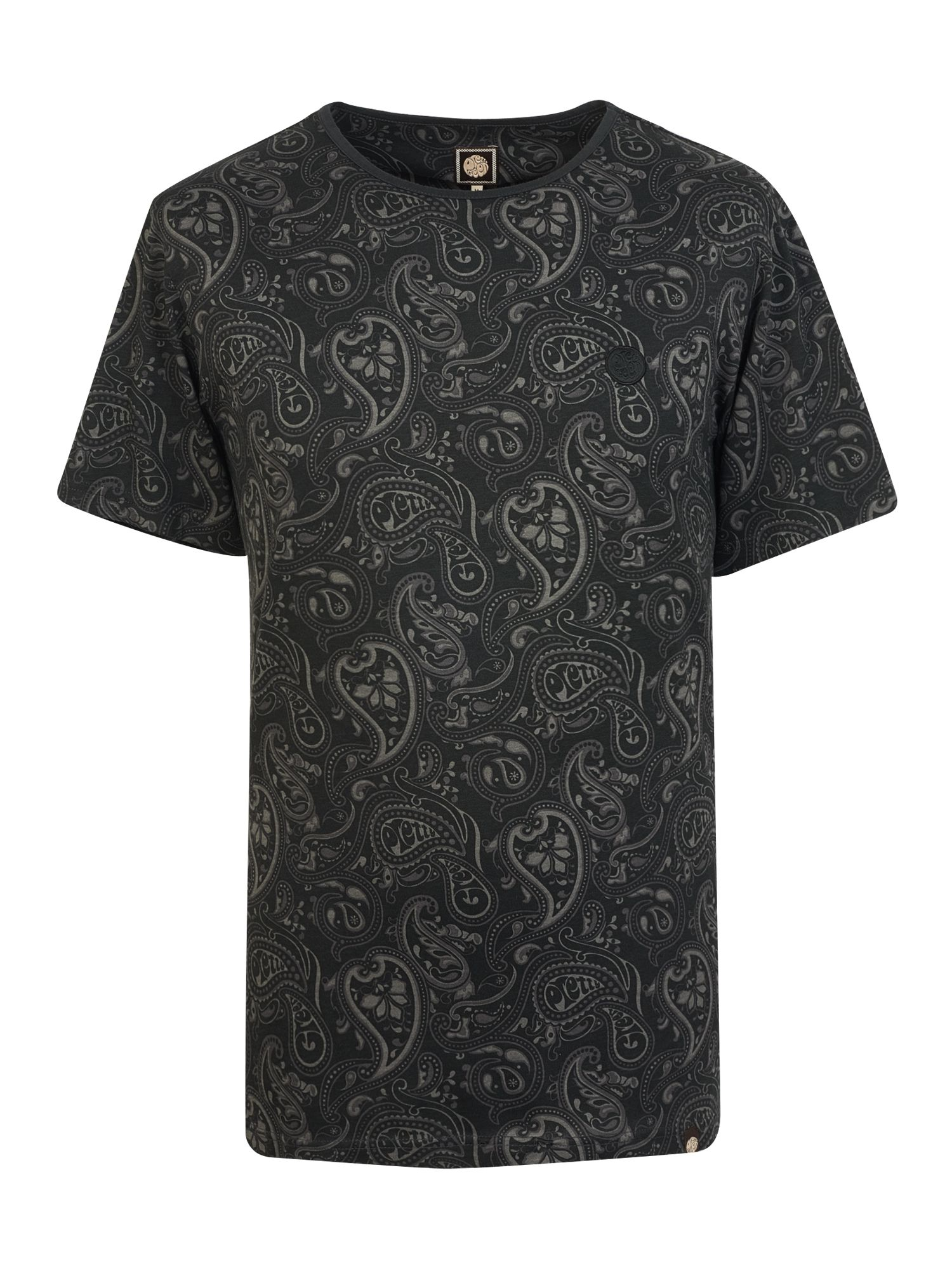 Men's Pretty Green Paisley Print T-Shirt, Black