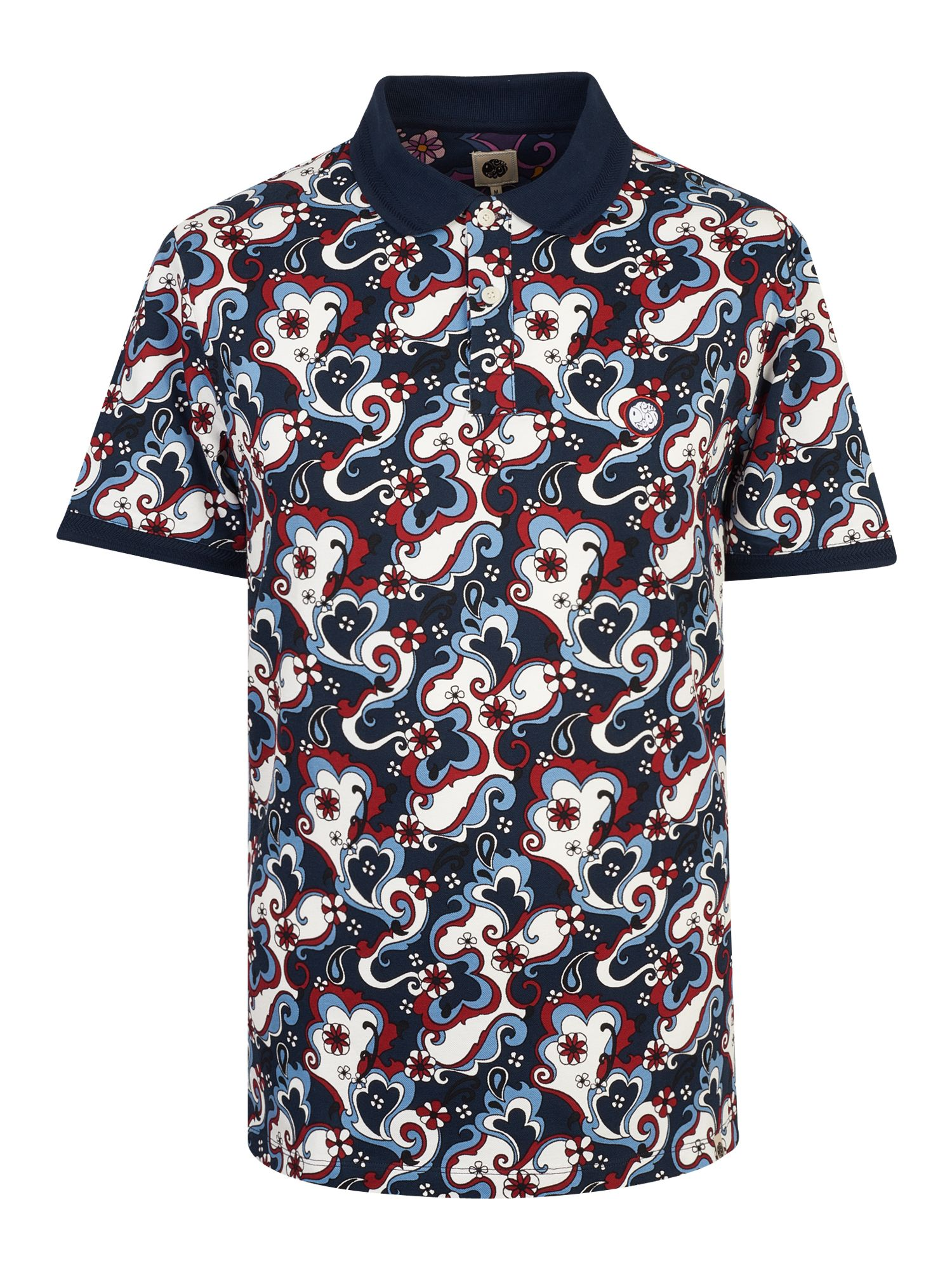 Men's Pretty Green Floral Paisley Print Polo Shirt, Blue