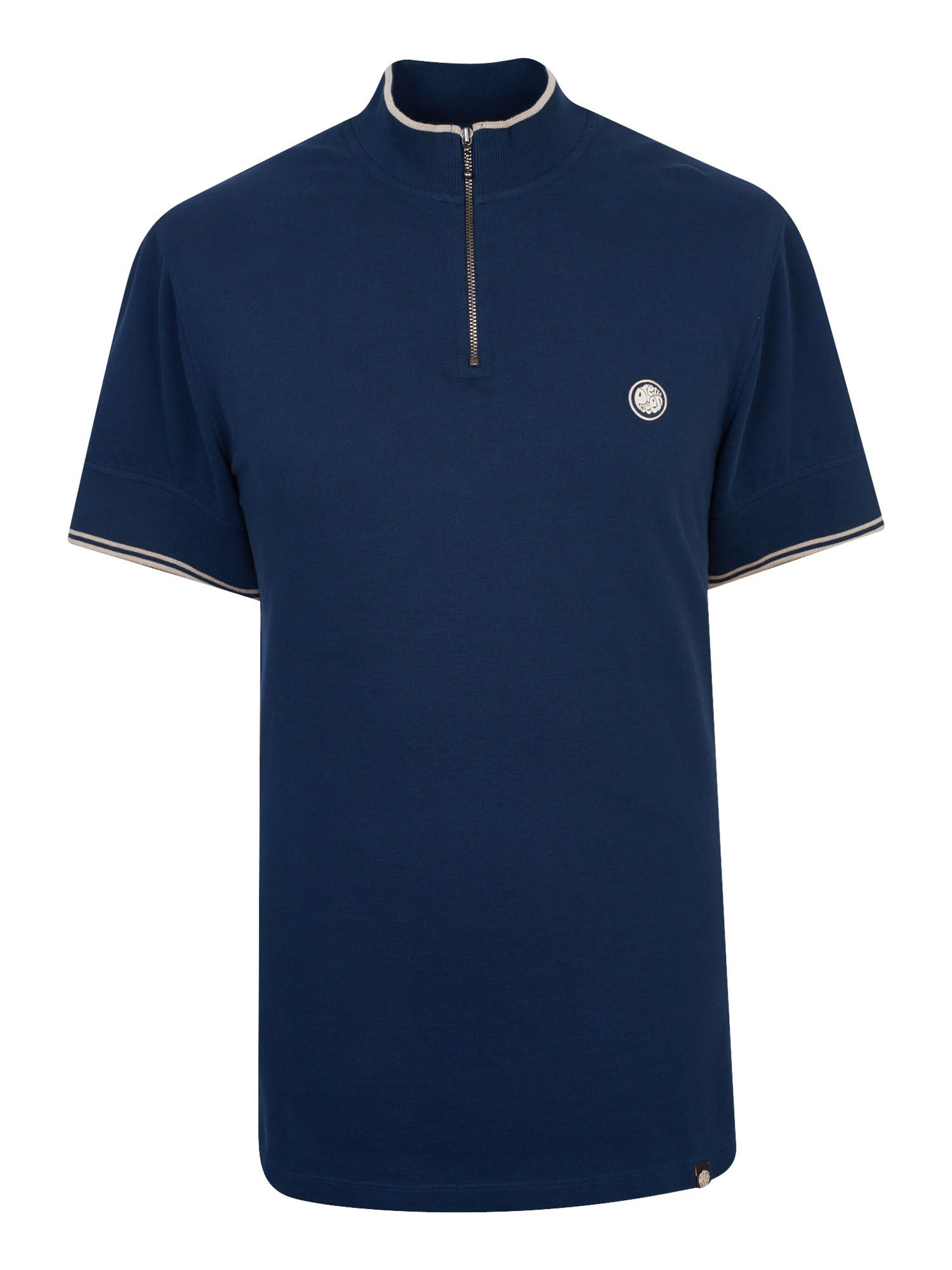 Men's Pretty Green Pique Zip Up T-Shirt, Blue