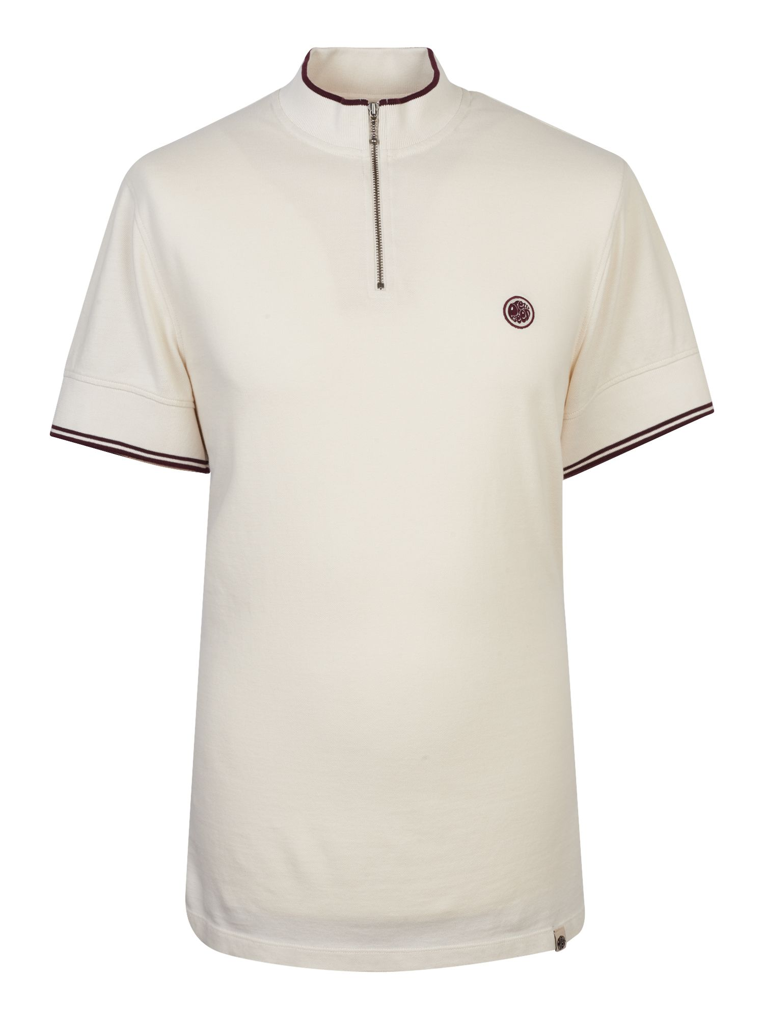 Men's Pretty Green Pique Zip Up T-Shirt, Stone