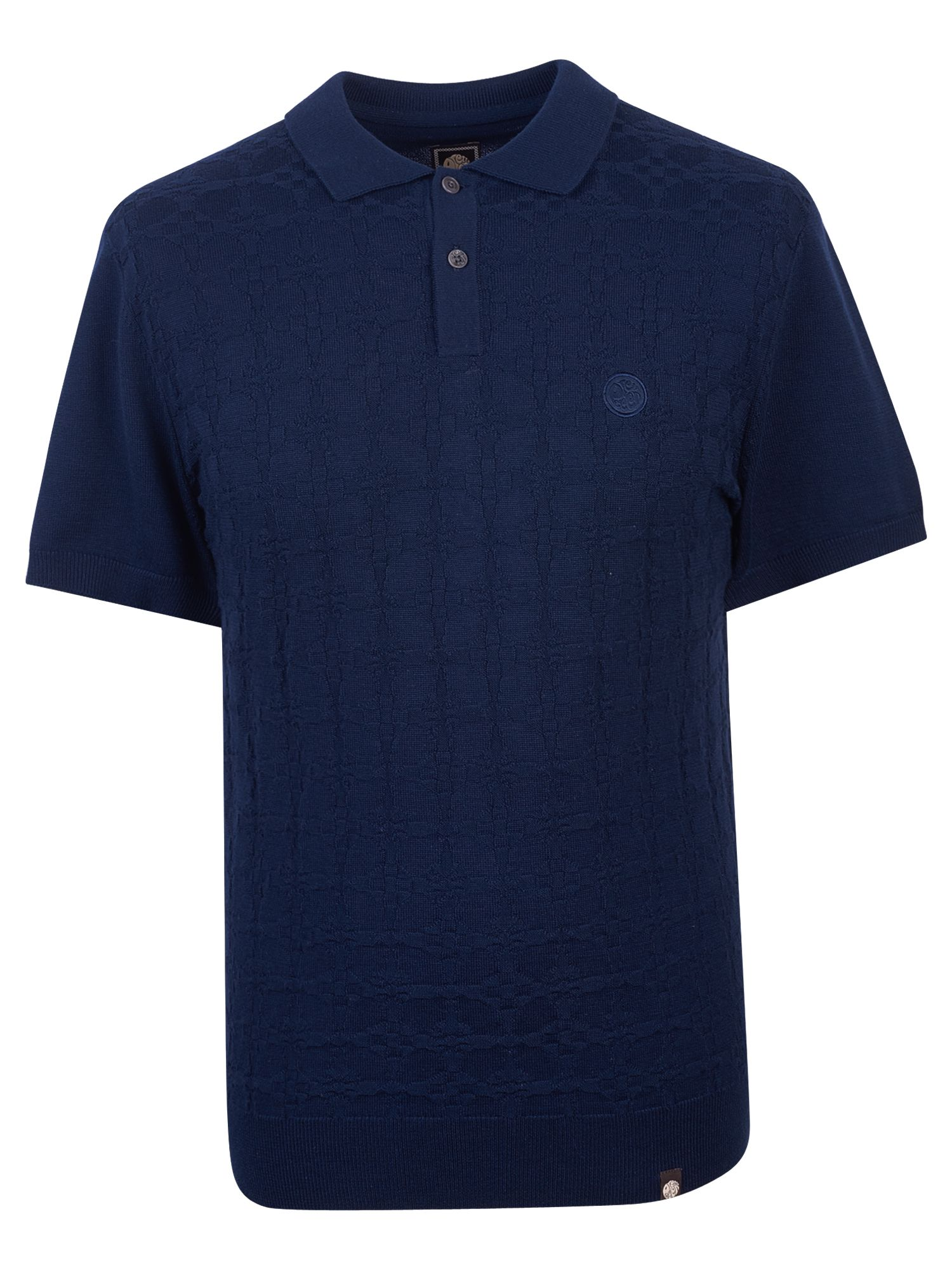 Men's Pretty Green Knitted jacquard Polo Shirt, Blue