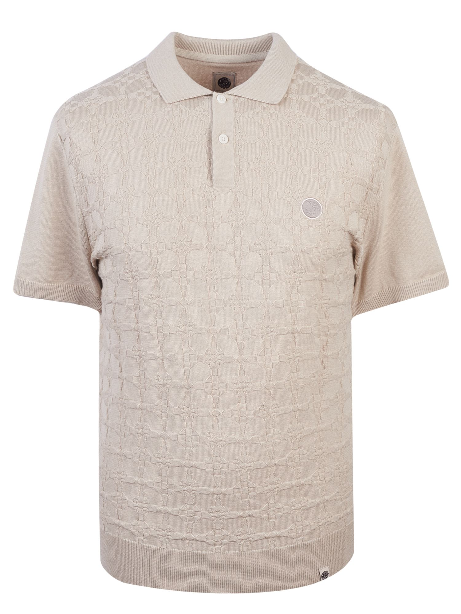 Men's Pretty Green Knitted jacquard Polo Shirt, Stone