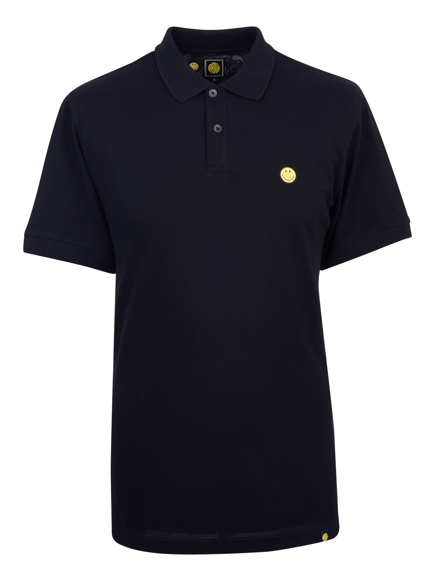 Men's Pretty Green Smiley Badge Polo Shirt, Black