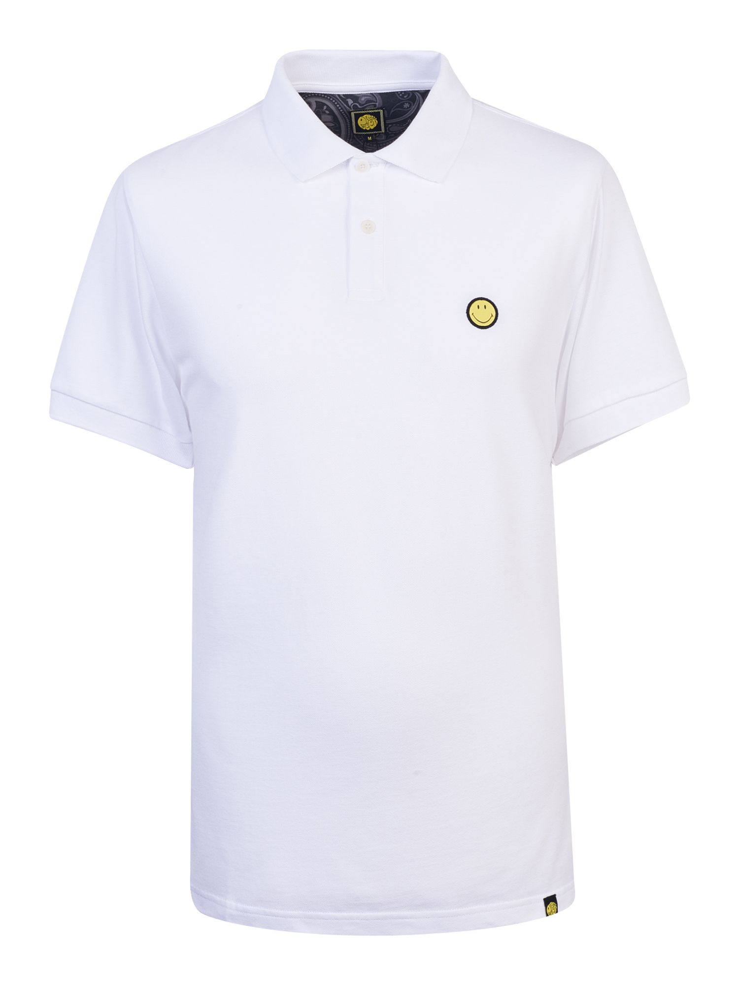 Men's Pretty Green Smiley Badge Polo Shirt, White