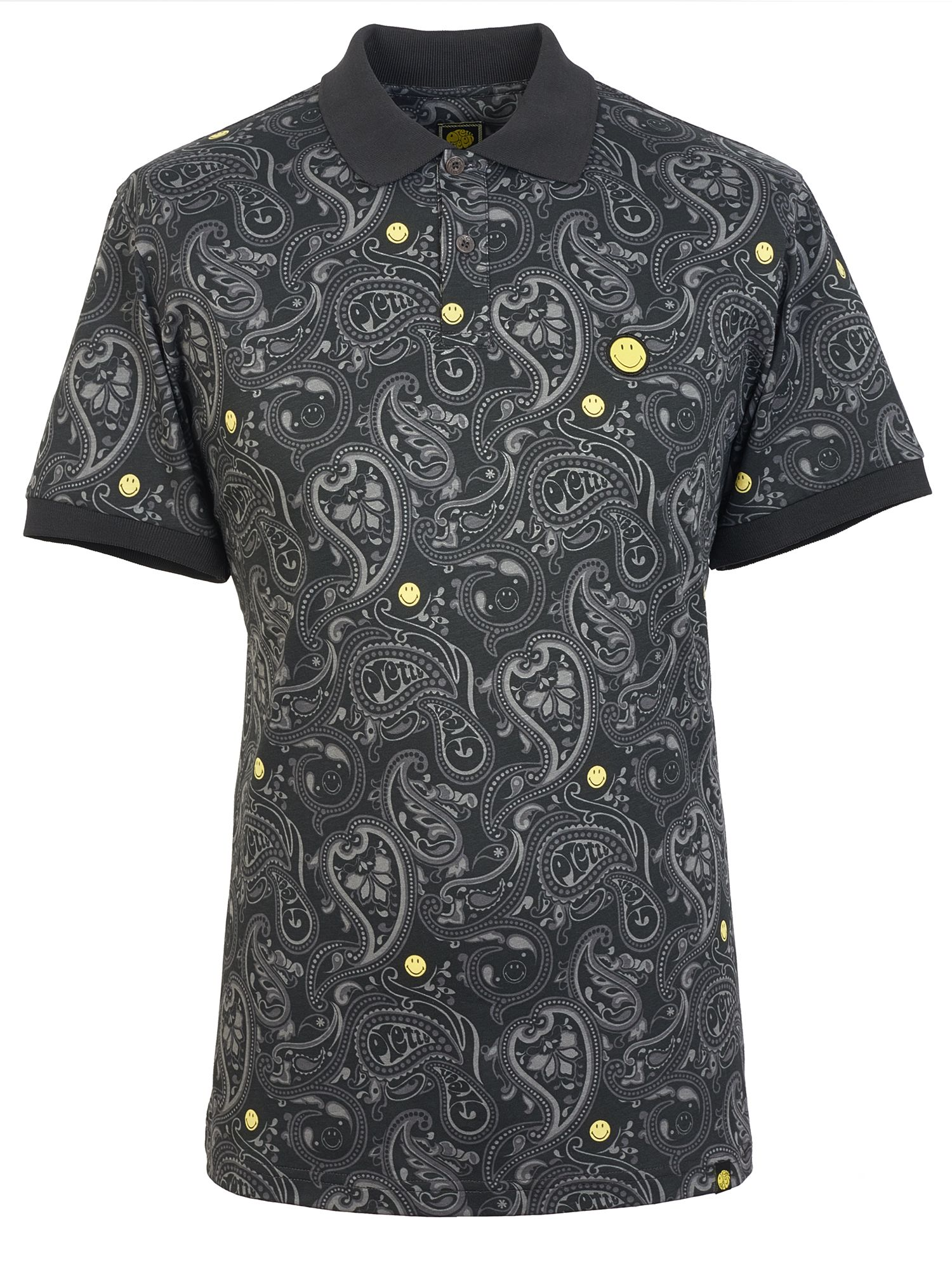 Men's Pretty Green Smiley Paisley Print Polo Shirt, Black