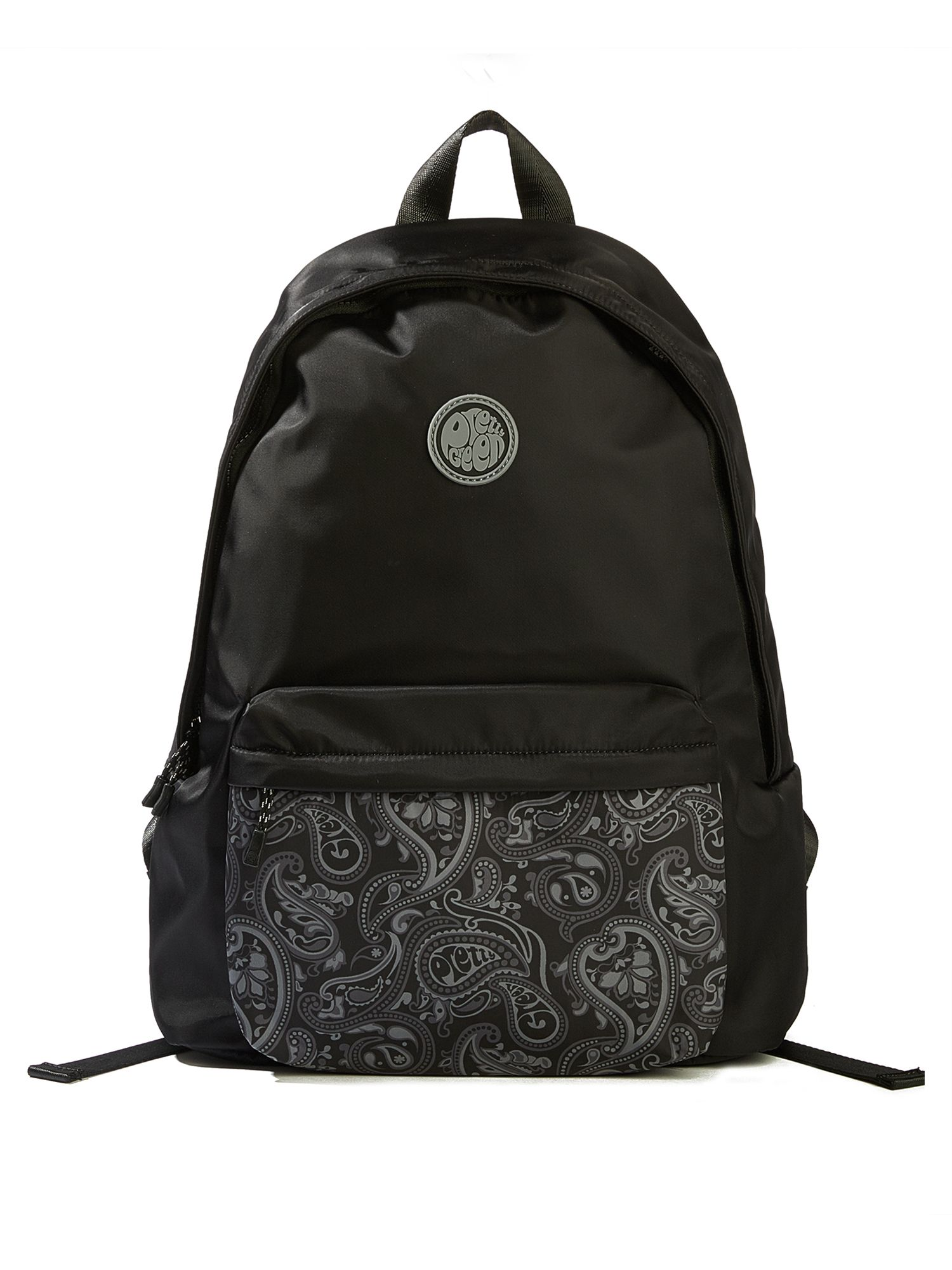 Pretty Green Nylon Backpack With Paisley Pocket, Black
