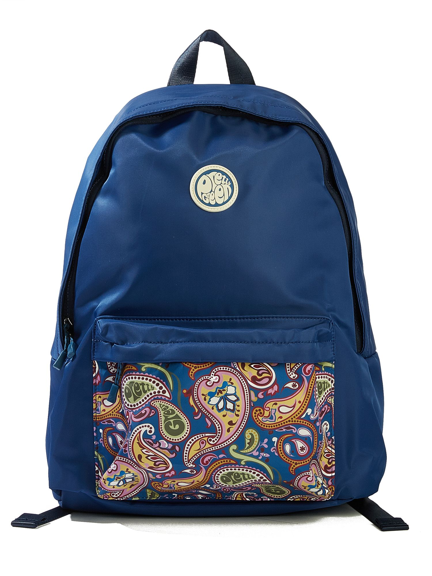 Pretty Green Nylon Backpack With Paisley Pocket, Multi-Coloured
