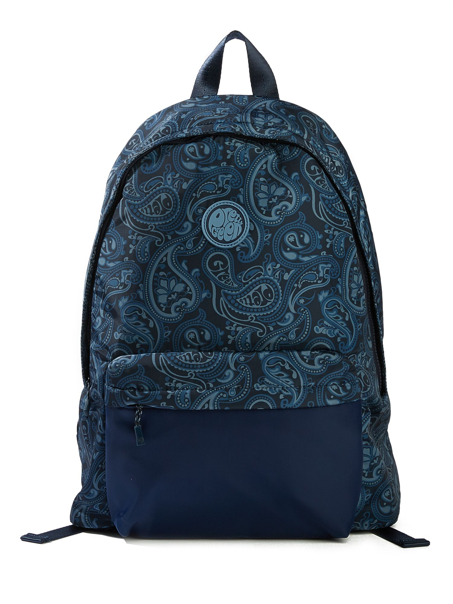Pretty Green Nylon Paisley Backpack With Plain Pocket, Blue