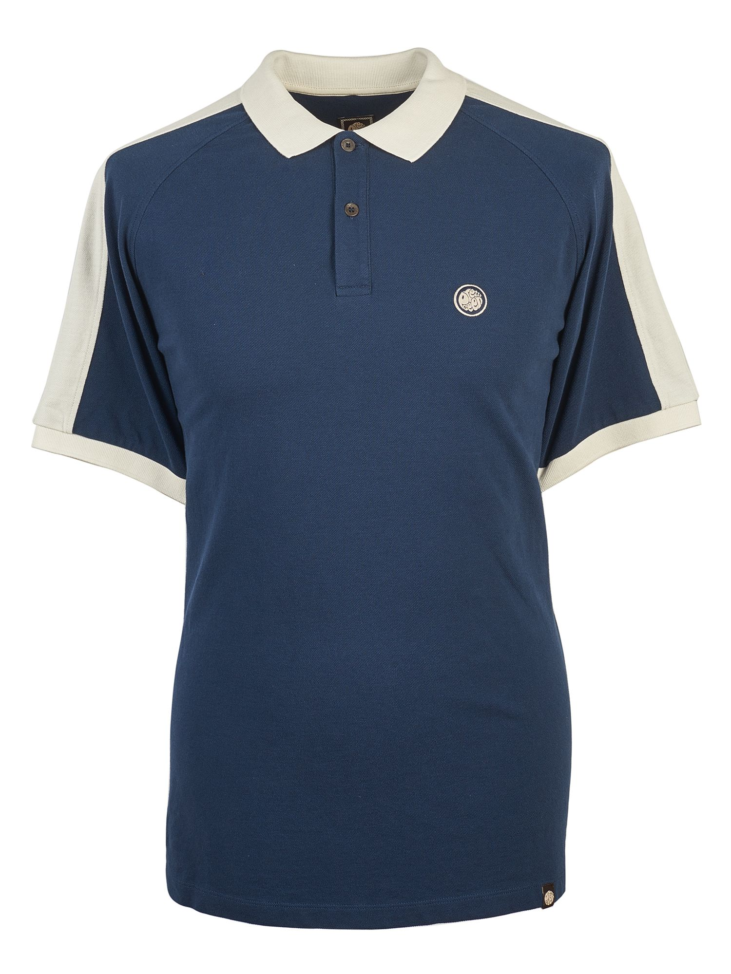 Men's Pretty Green Pique Contrast Panel Polo, Blue