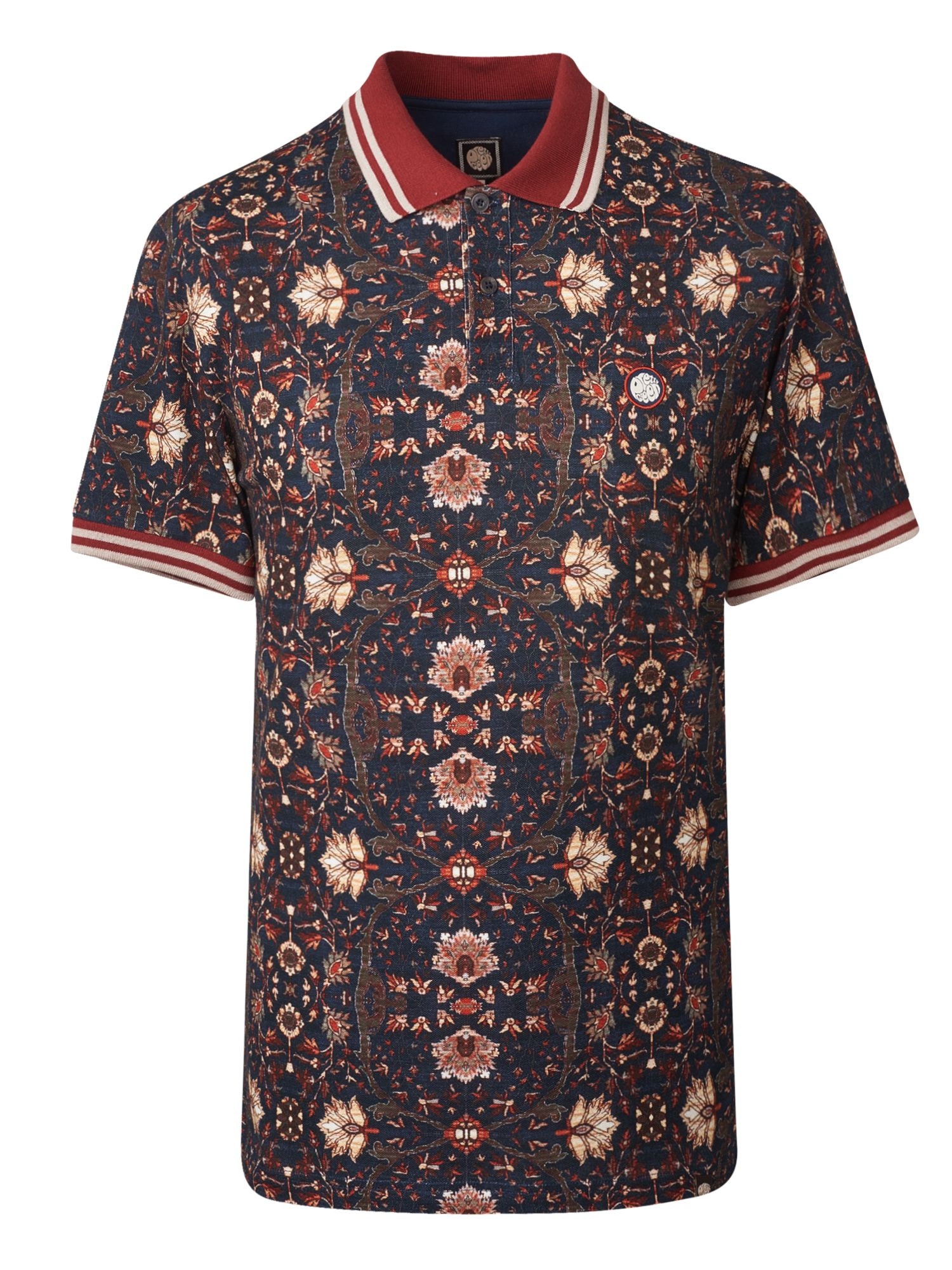 Men's Pretty Green Pique Floral Print Polo Shirt, Blue