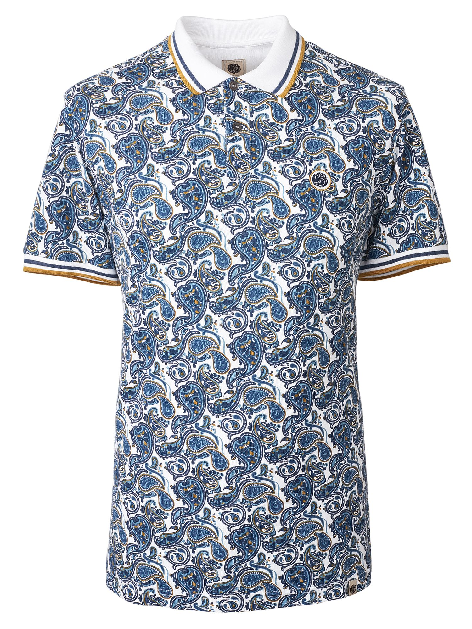 Men's Pretty Green Paisley Print Pique Polo Shirt, White
