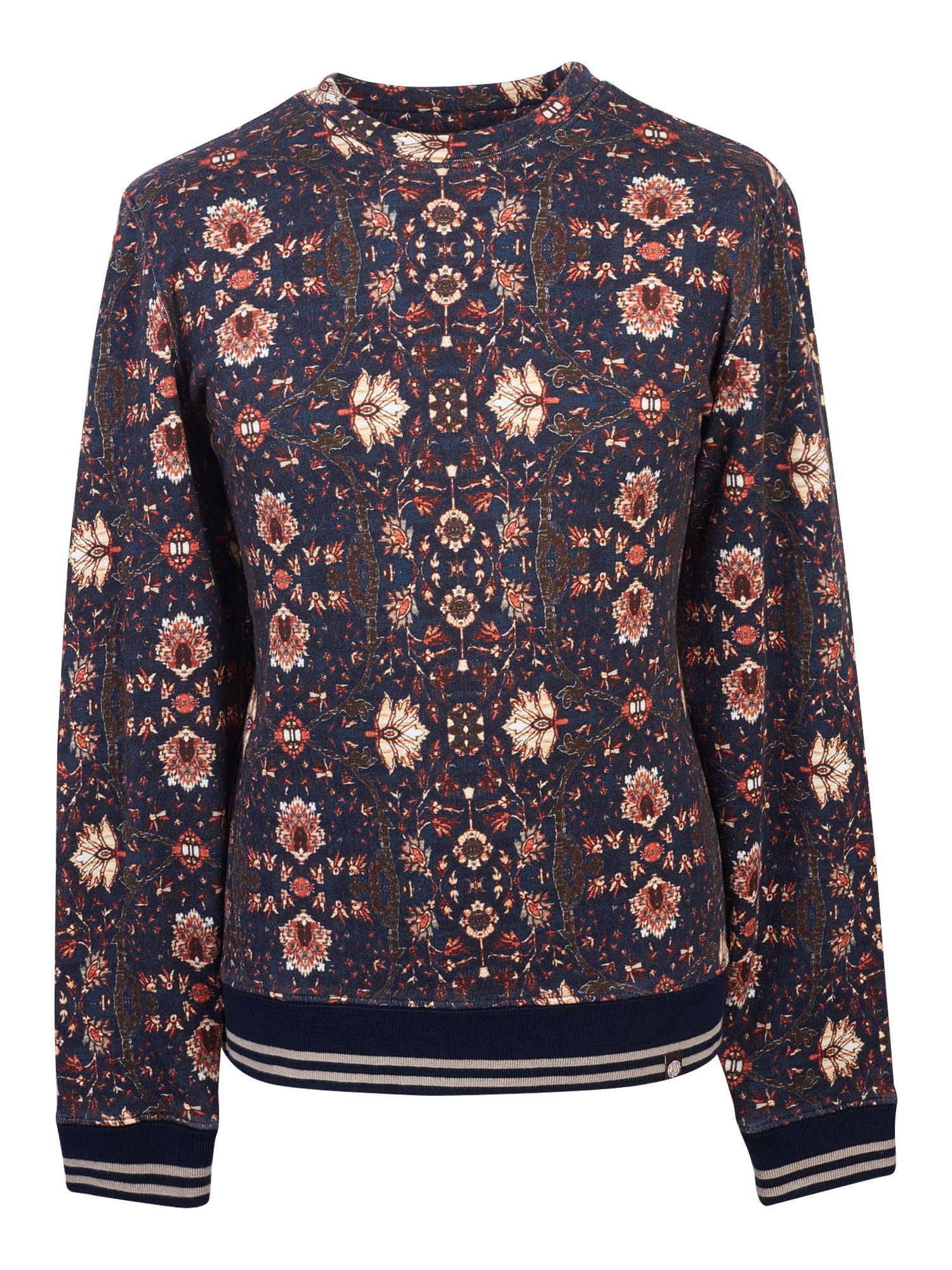 Men's Pretty Green Floral Print Crew Sweat, Blue