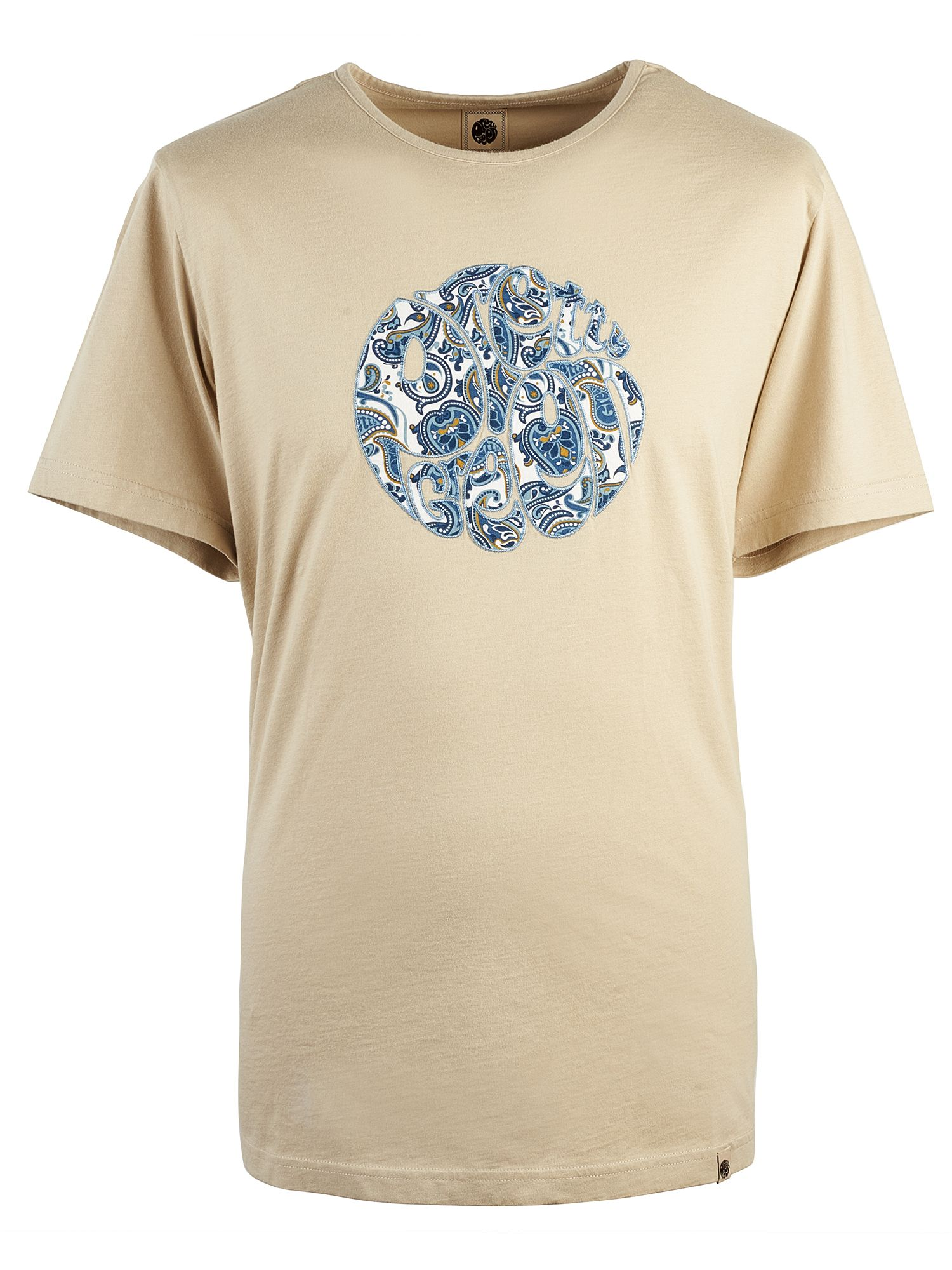 Men's Pretty Green Paisley Applique Logo T-Shirt, Stone