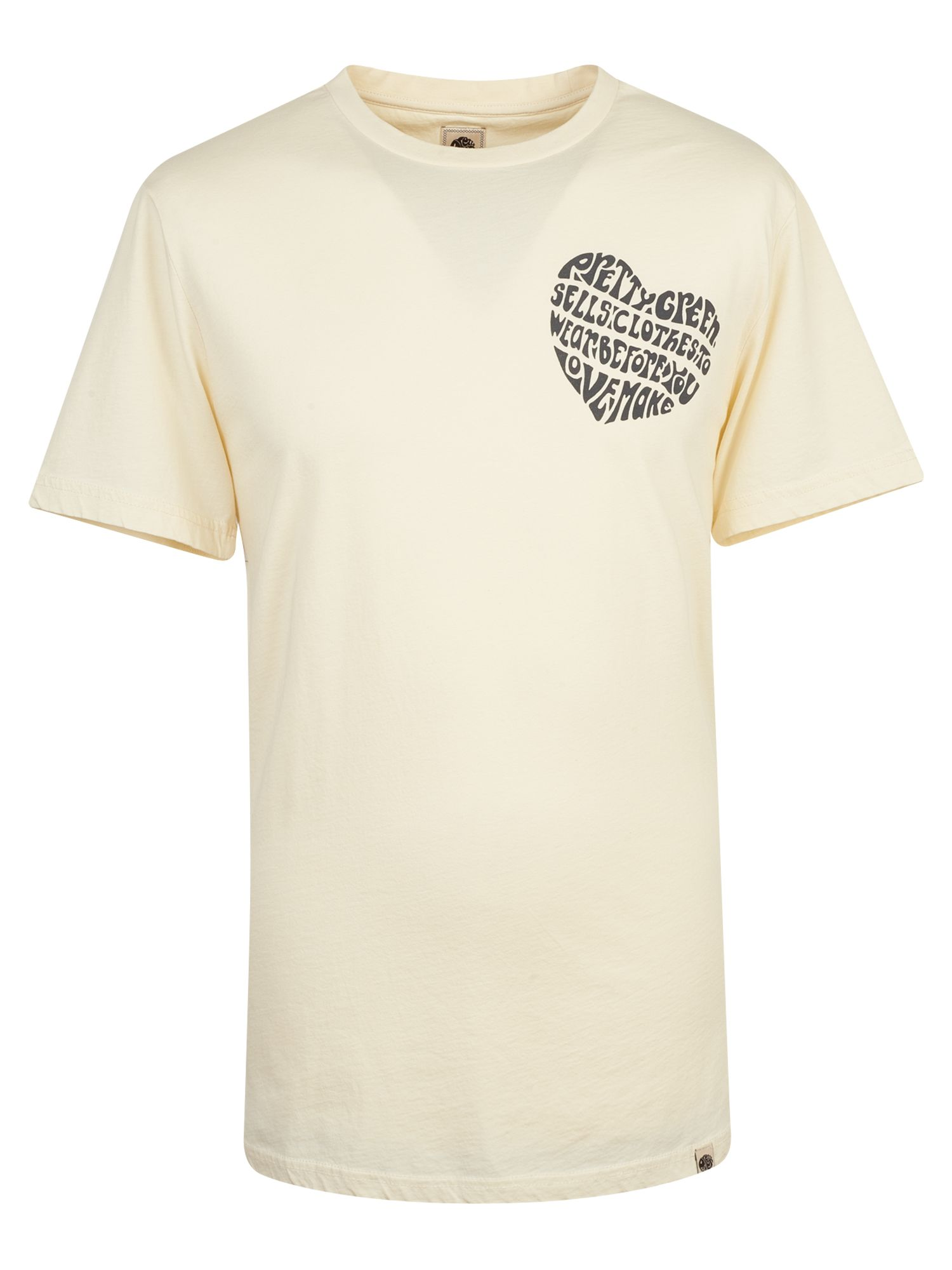 Men's Pretty Green Heart Print T-Shirt, Stone