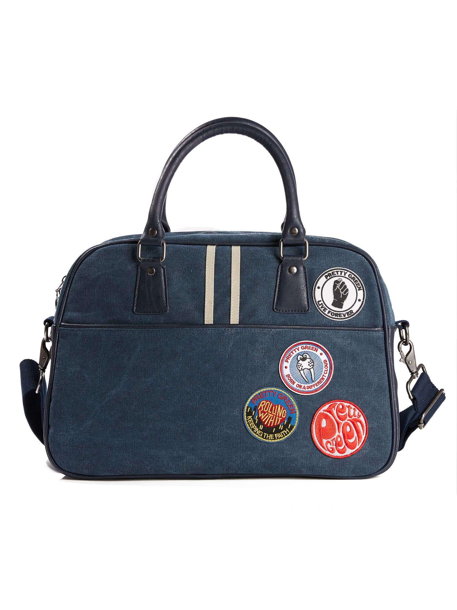 Pretty Green Washed Canvas Bag With Badges, Blue