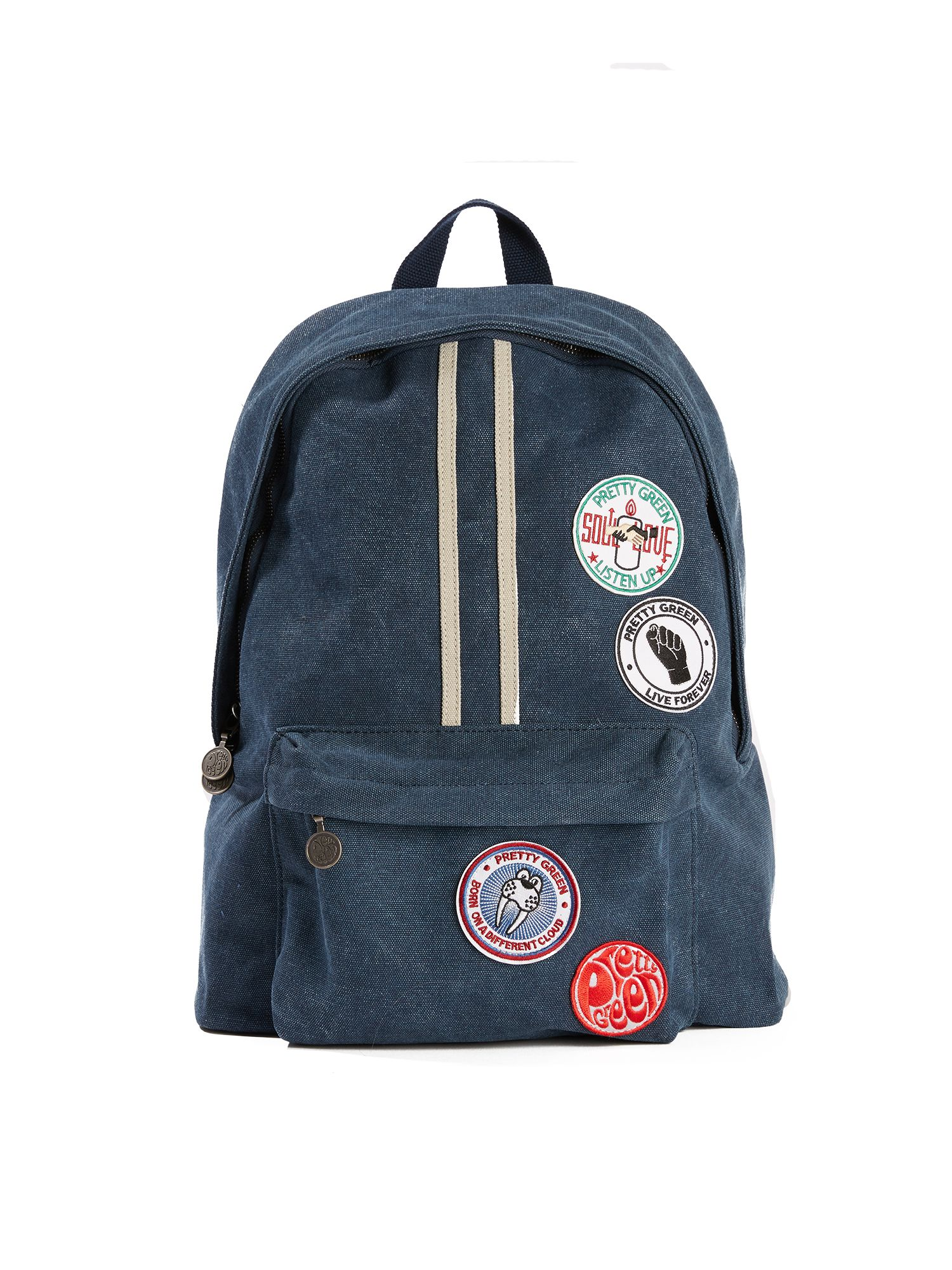 Pretty Green Washed Canvas Backpack With Badges, Blue