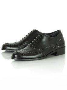 Bobbins brogue studded lace up brogues