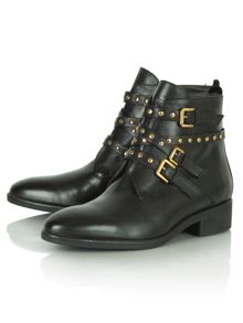 Lucky charm studded buckle ankle boots