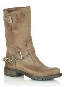 Chains calf biker boots