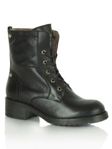 Sheared lace up boots