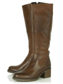 Patched knee high boots