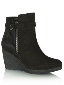 Kalou wedge contrast strap ankle boots