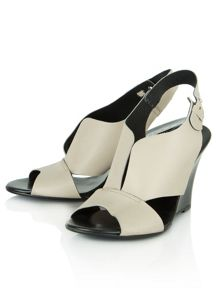 Sculpter open toe wedge sling back shoes