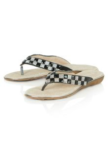 Hatters jewelled toe post sandals