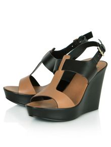 Lochy t-bar wedge sandals