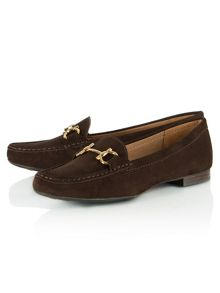 Generous suede slip on moccasins