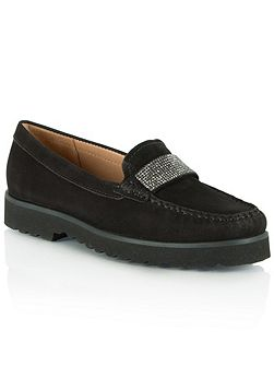 Genuine diamante embellished loafers