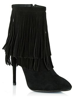 Positive fringed stiletto ankle boots