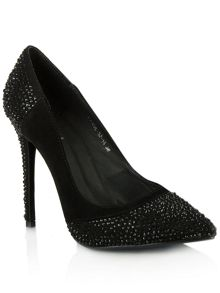 Passionate suede diamante court shoes