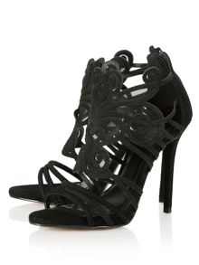 Worthy suede mesh cage heeled sandals