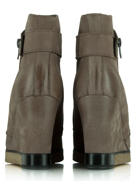 daniel adorable two zip wedge ankle boots brown house of