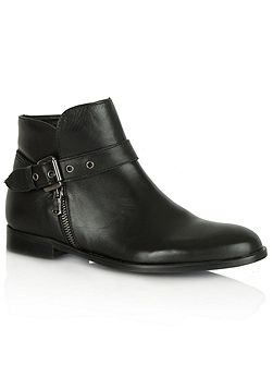 Laugh zip and buckle ankle boots
