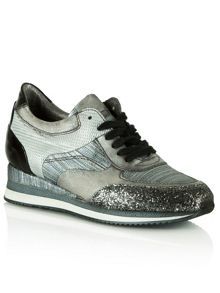 Majesty metallic glitter wedge trainers
