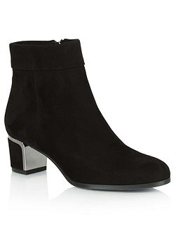 Enthusiasm metal trim heeled ankle boots