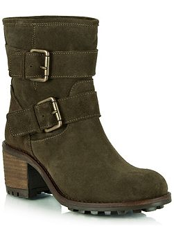 Surprised suede biker boots