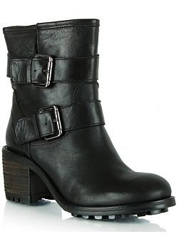 Surprised leather biker boots