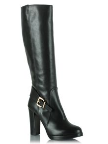 Elation leather buckled knee high boots
