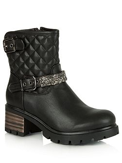 Gillygate leather quilted biker boots