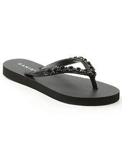 Crystal toe post embellished flip flops