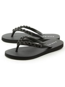Daniel Crystal toe post embellished flip flops