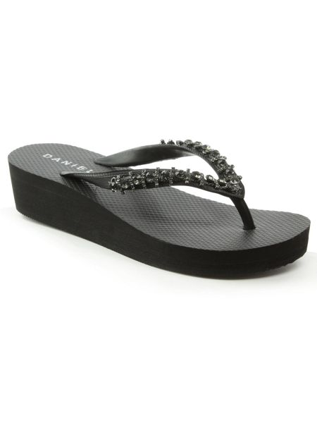 Daniel Crystal embellished wedge flip flops